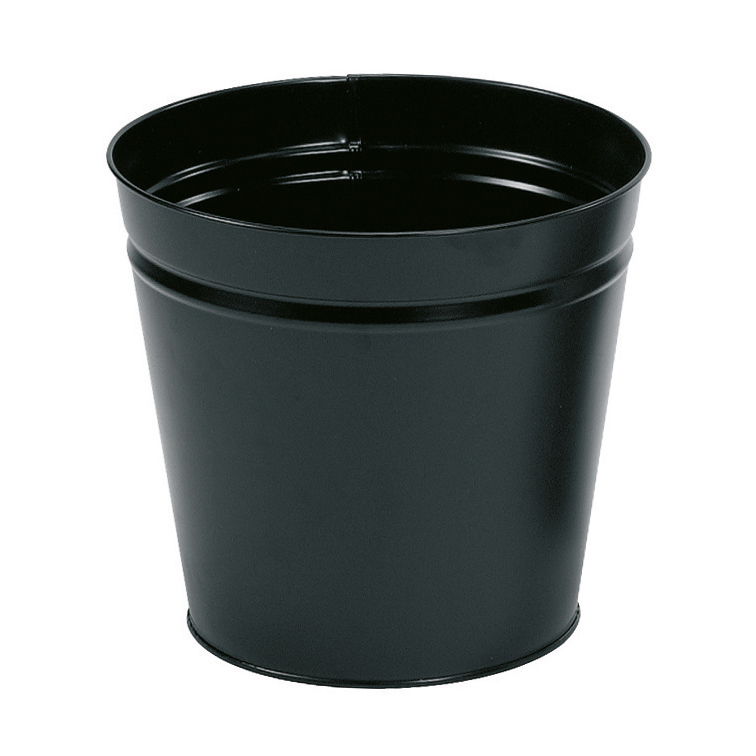 5 Star Facilities Waste Bin Round Metal Scratch Resistant D300xH280mm 15 Litres Black