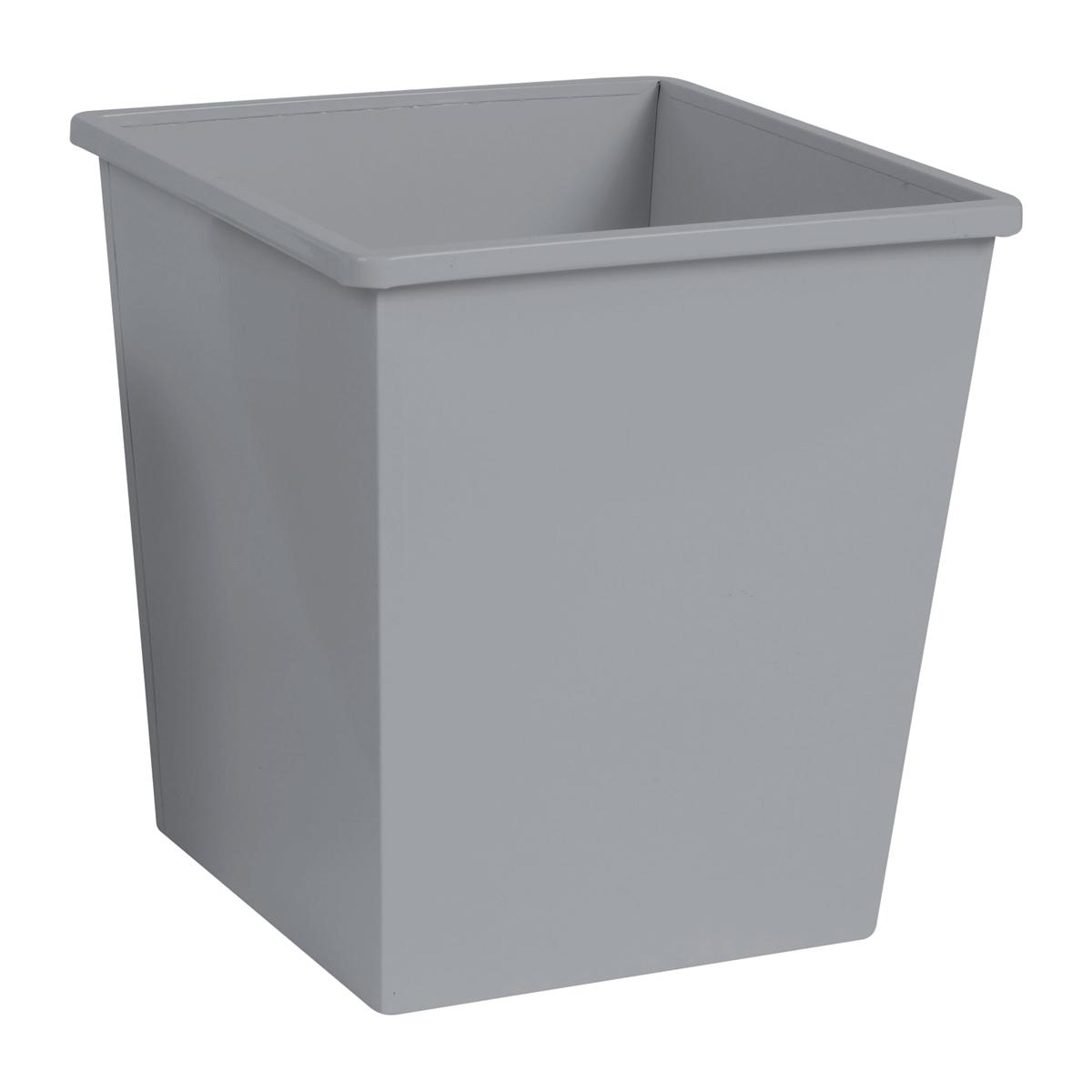 5 Star Office Waste Bin Square Iron Scratch Resistant 325x325x350mm 27 Litres Silver Metallic