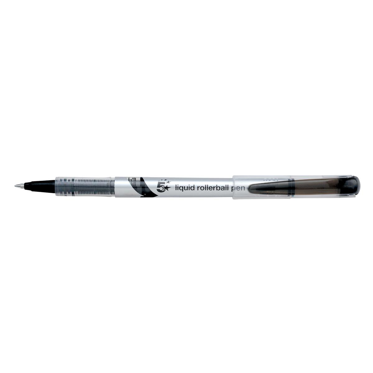 5 Star Elite Rollerball Pen Liquid Fine 0.7mm Tip 0.5mm Line Black [Pack 12]