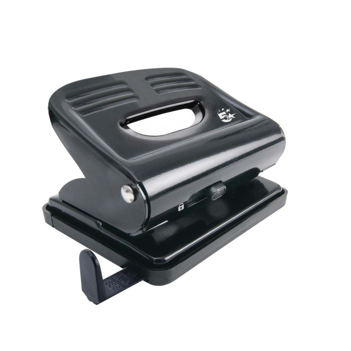 5 Star Office Punch 2-Hole Plastic Base Metal Handle Capacity 18x 80gsm Black