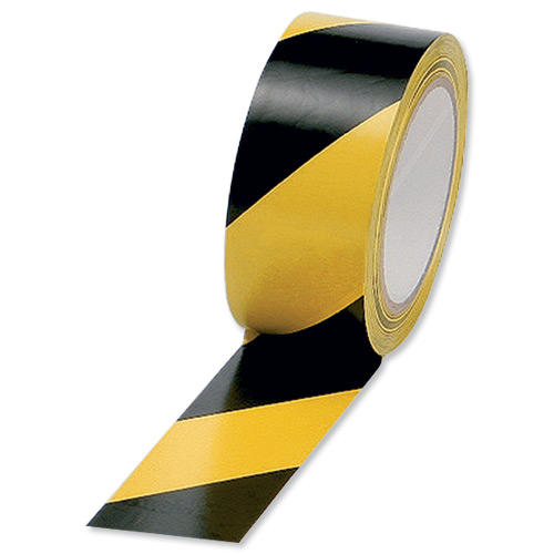 5 Star Office Hazard Tape Soft PVC Internal Use Adhesive 50mmx33m Black and Yellow