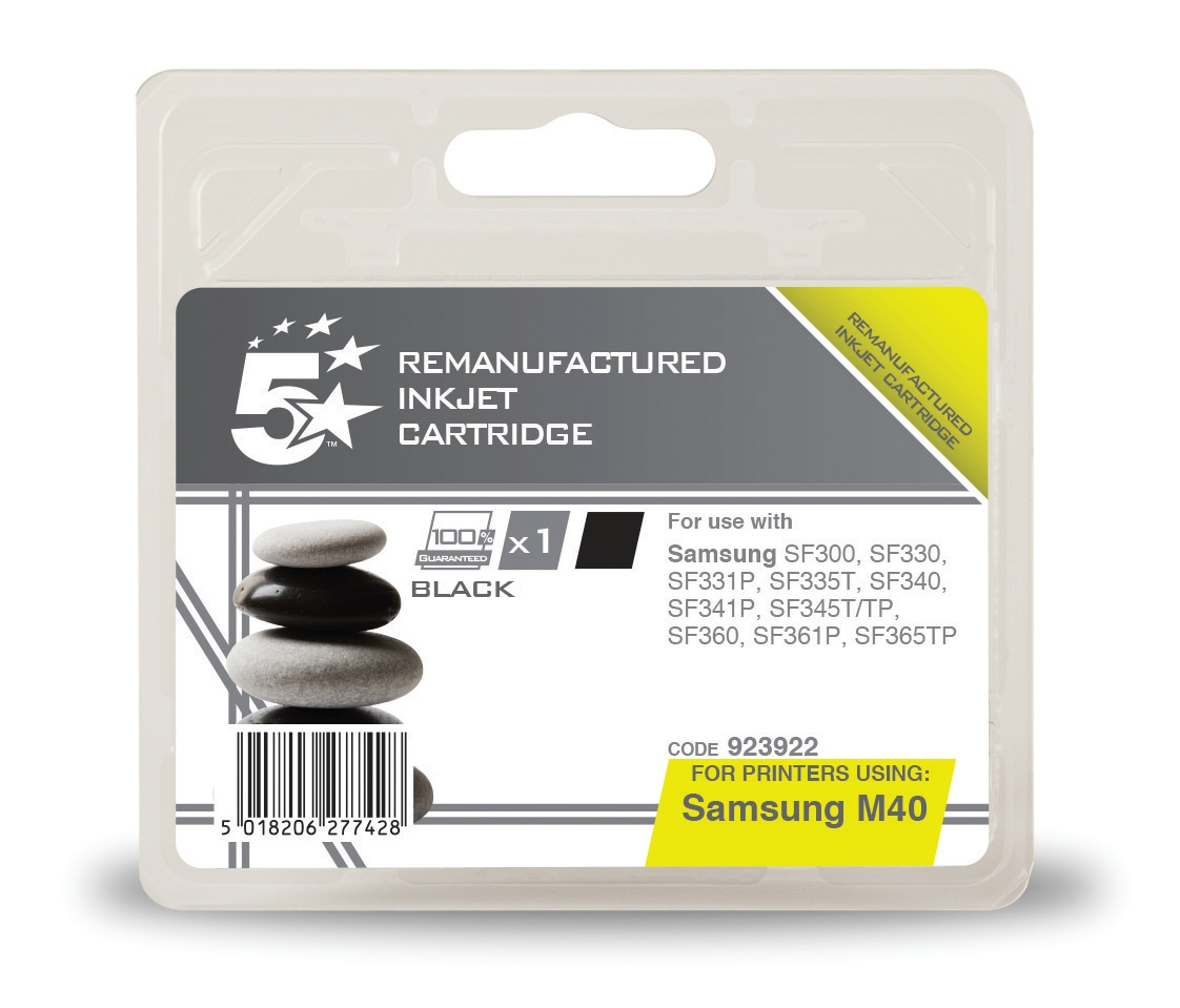 5 Star Office Remanufactured Fax Inkjet Cartridge Page Life 750pp Black [Samsung INK-M40 Alternative]