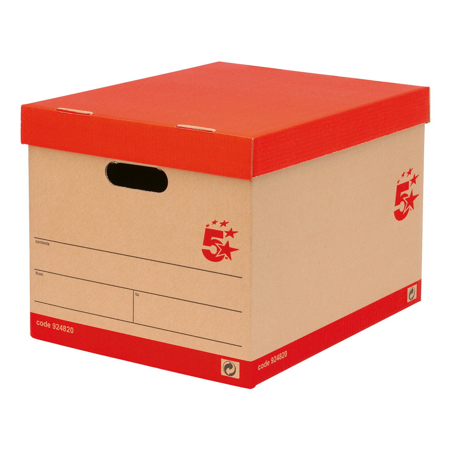 5 Star Office Storage Box Red & Brown FSC [Pack 10]