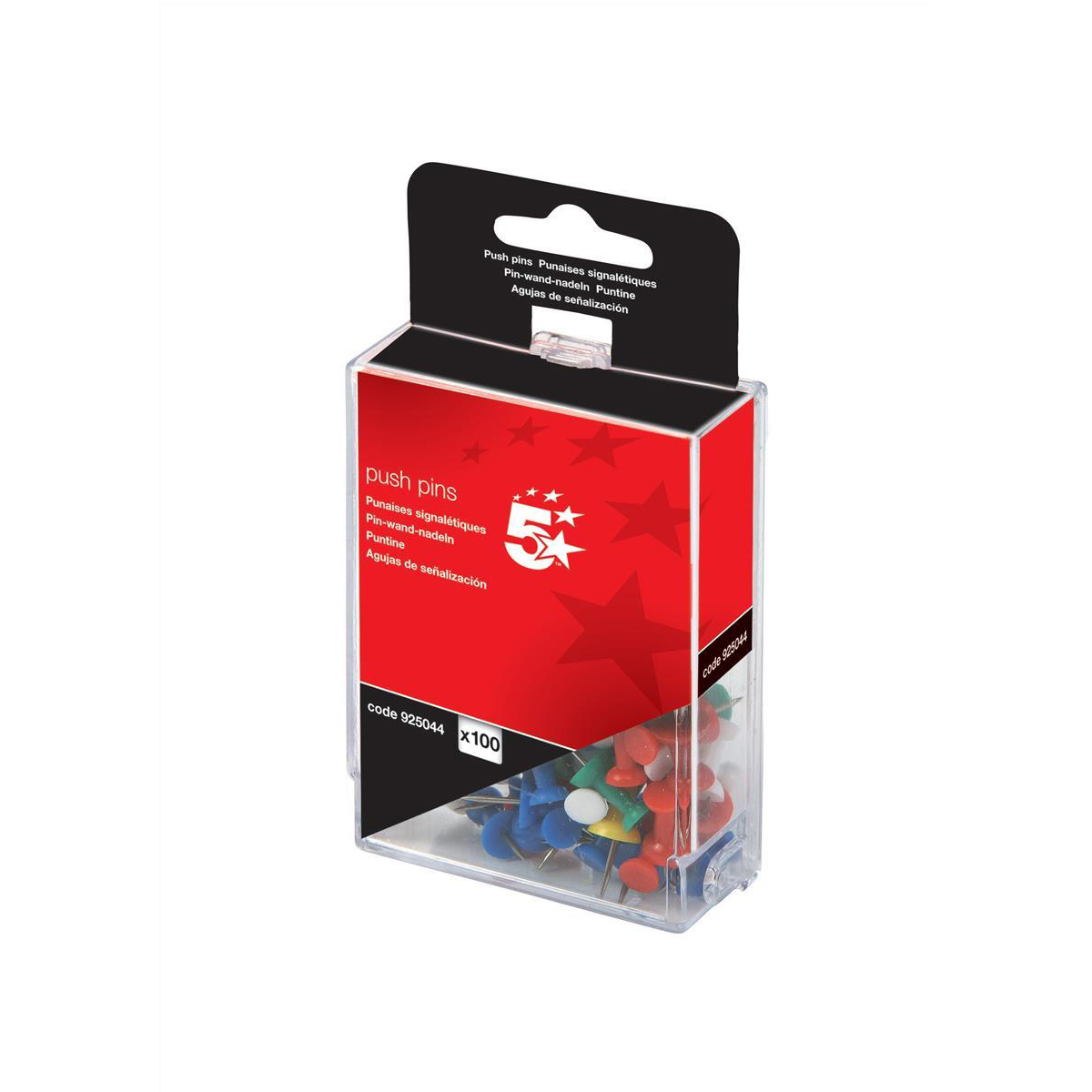 5 Star Push Pins Ast Opaque Pk100 925044