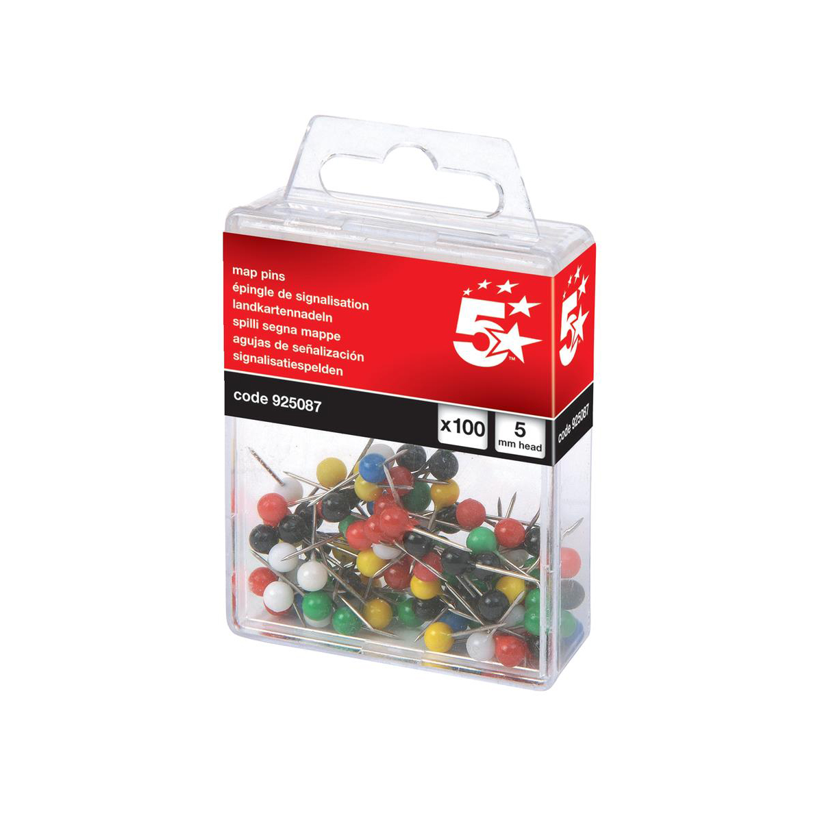 5 Star Office Map Pins 5mm Head Assorted Pack 100