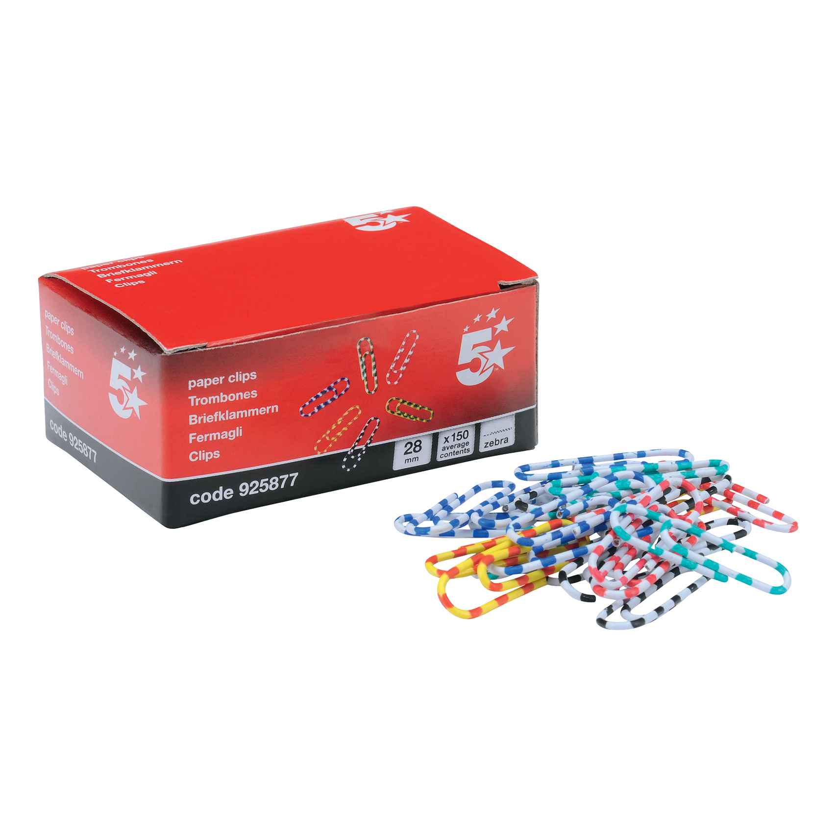 5 Star Zebra Paperclips Length 28mm Assorted Pack 150
