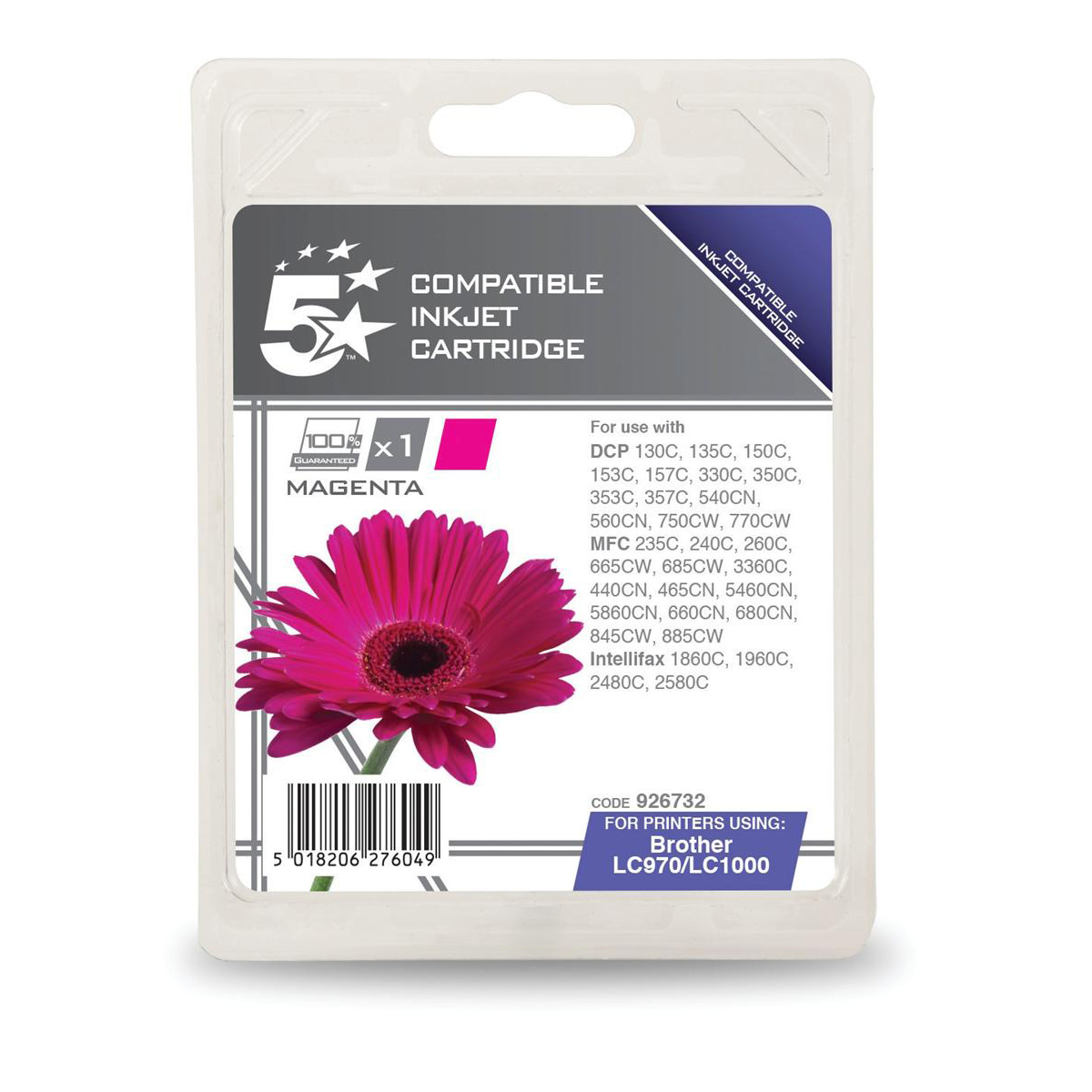 5 Star Office Remanufactured Inkjet Cartridge Page Life 400pp Magenta [Brother LC1000M Alternative]