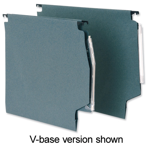 5 Star Office Lateral Suspension File Manilla 30mm Wide-base 180gsm A4 Green [Pack 50]