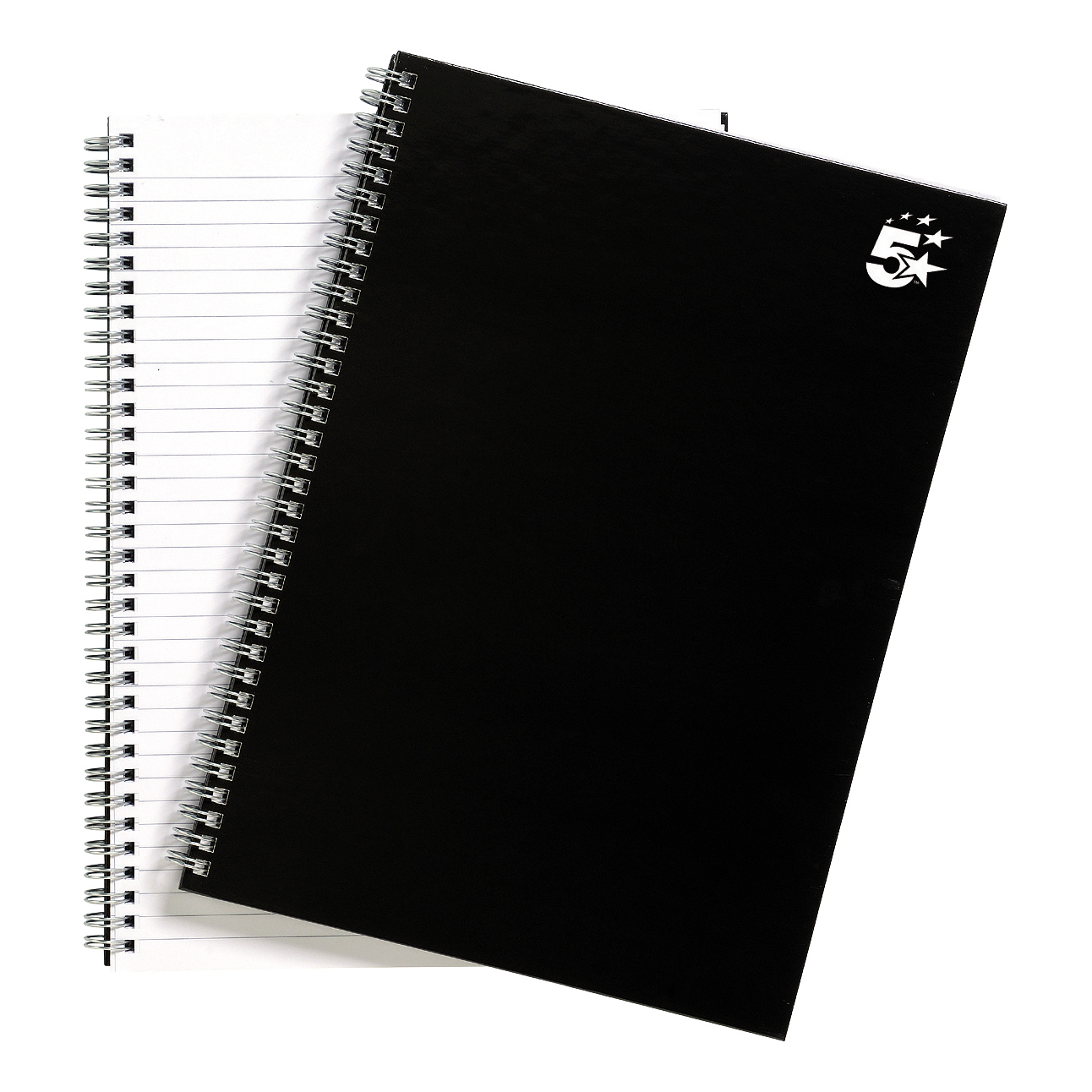 5 Star Office Notebook Twin Wirebound Hard Cover Ruled 80gsm A4 Black [Pack 5]
