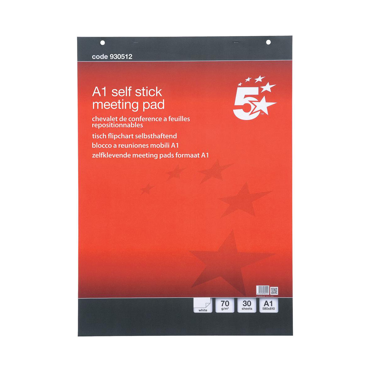 5 Star Flipchart Pad Self-adhesive 70gsm 30 Sheets A1 White Code FL1240007