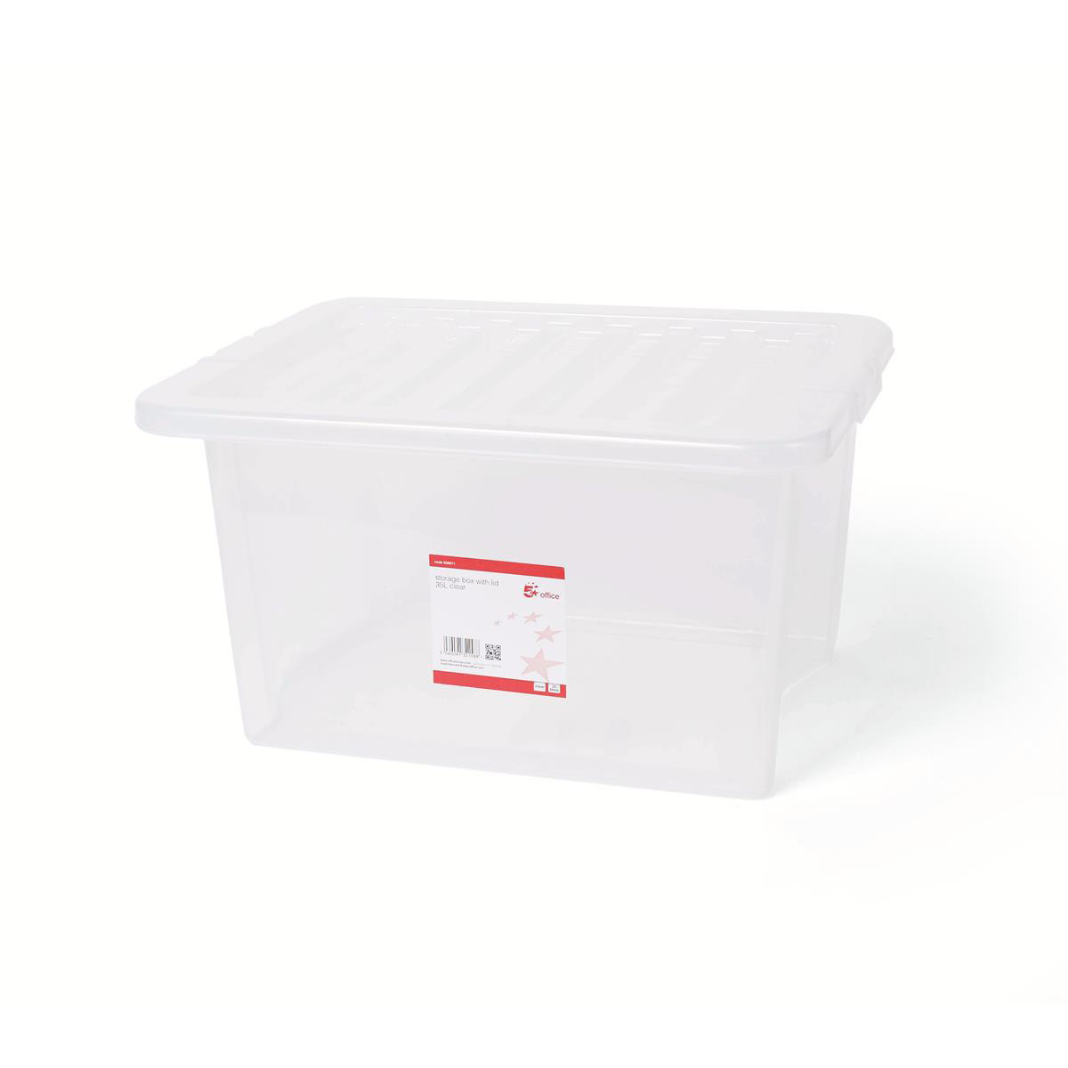 5 Star Storage Box Plastic with Lid Stackable 35 Litre Clear Code 12455