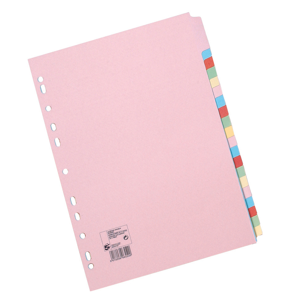 5 Star Office Subject Dividers Multipunched Manilla Card 20-Part A4 Assorted [Pack 10]