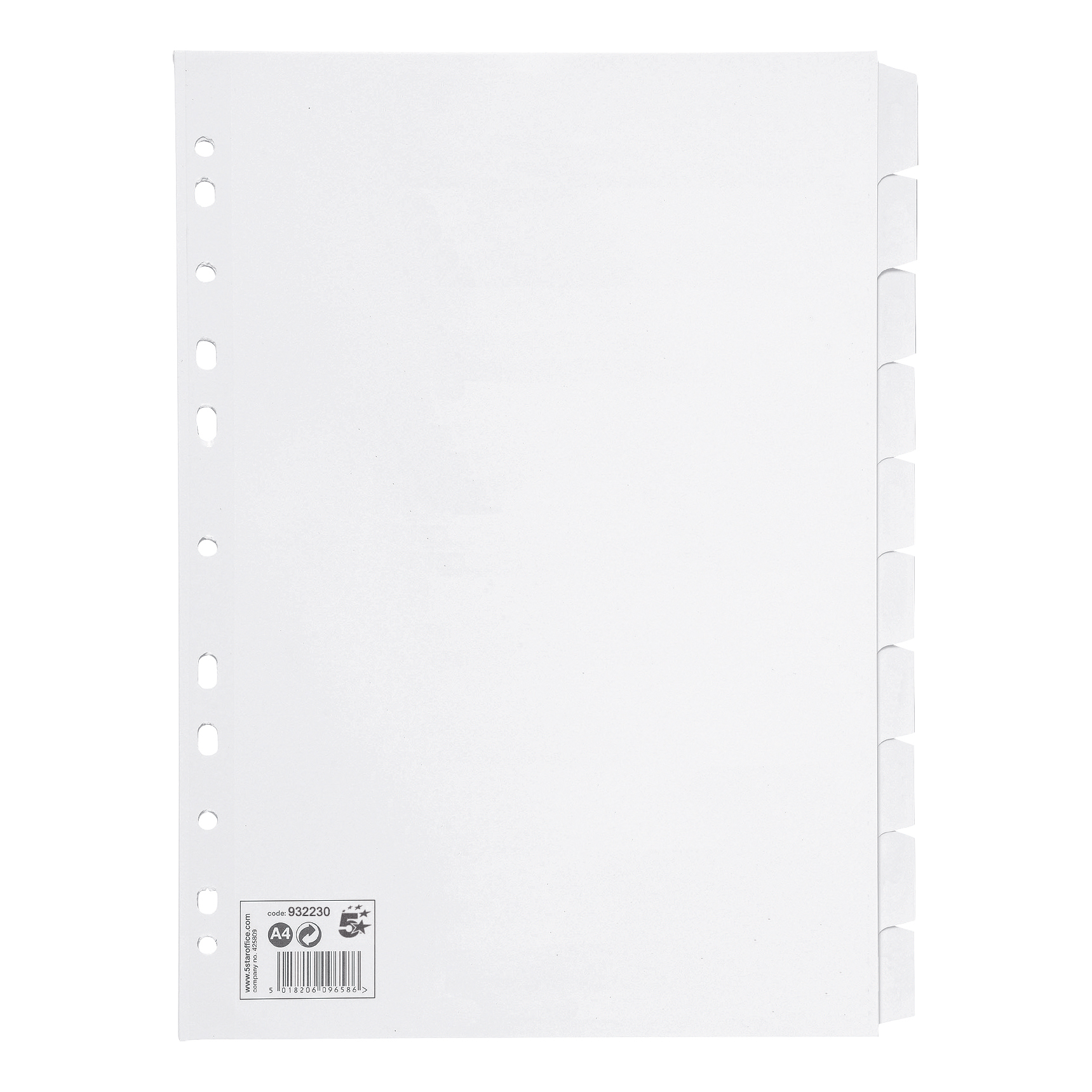 5 Star Office Subject Dividers 10-Part Recycled Card Multipunched 155gsm A4 White [Pack 10]