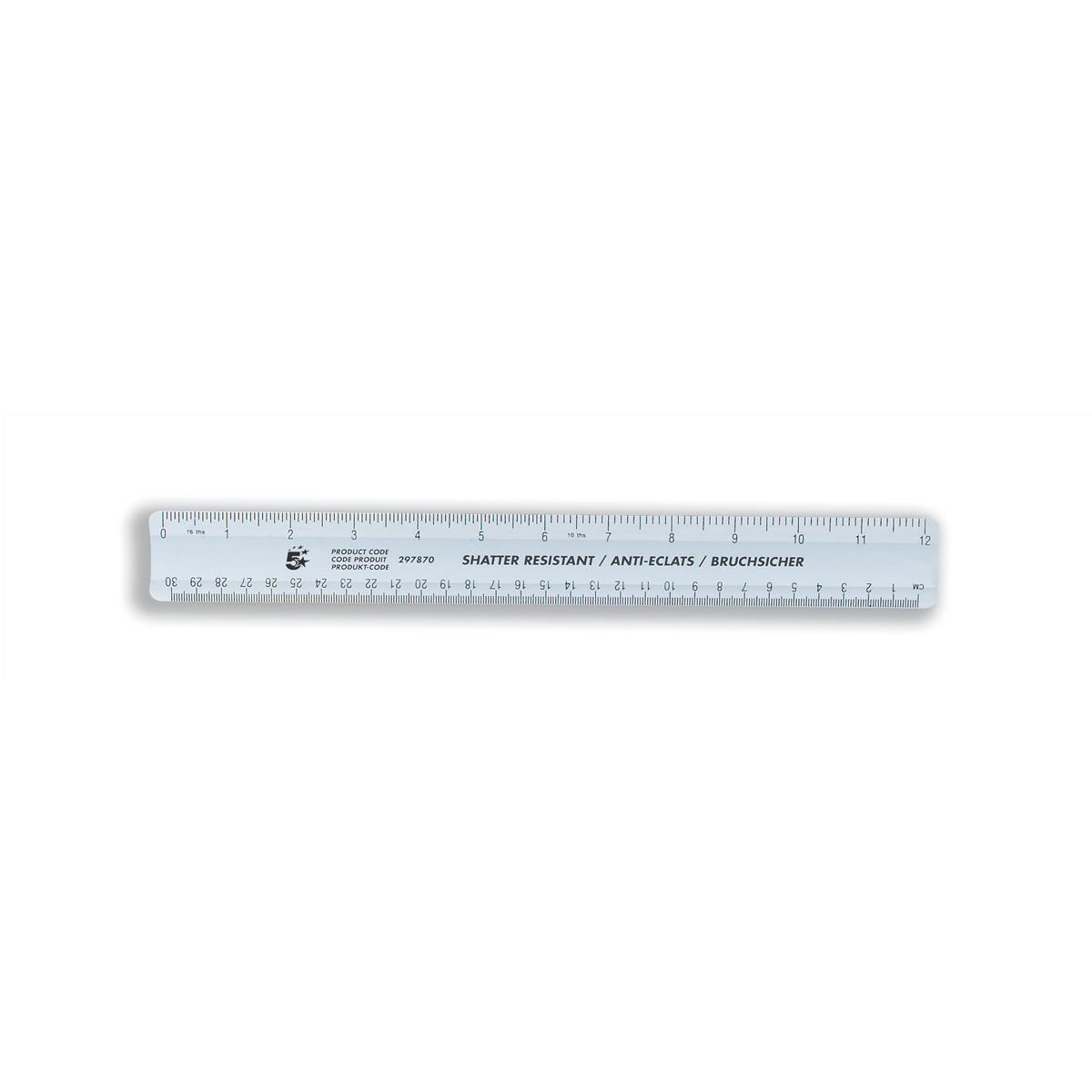 5 Star Office Ruler Plastic Shatter-resistant 300mm Blue Tint [Pack 10]