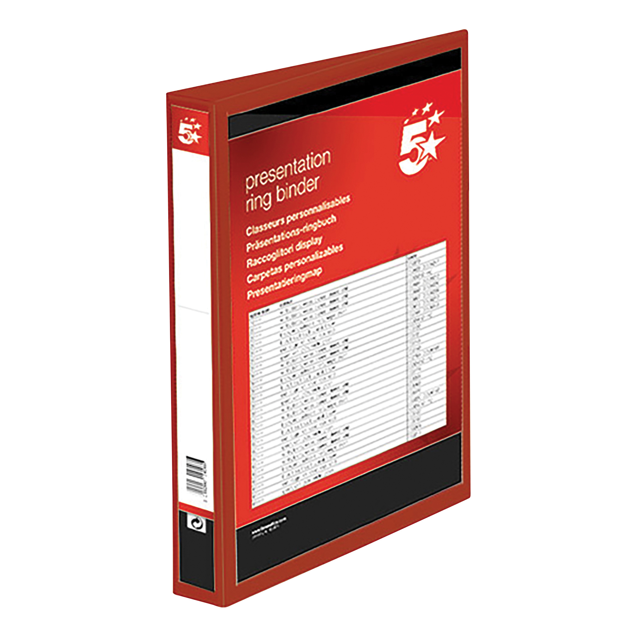 5 Star Office Presentation Ring Binder PVC 4 D-Ring 25mm Size A4 Red [Pack 10]