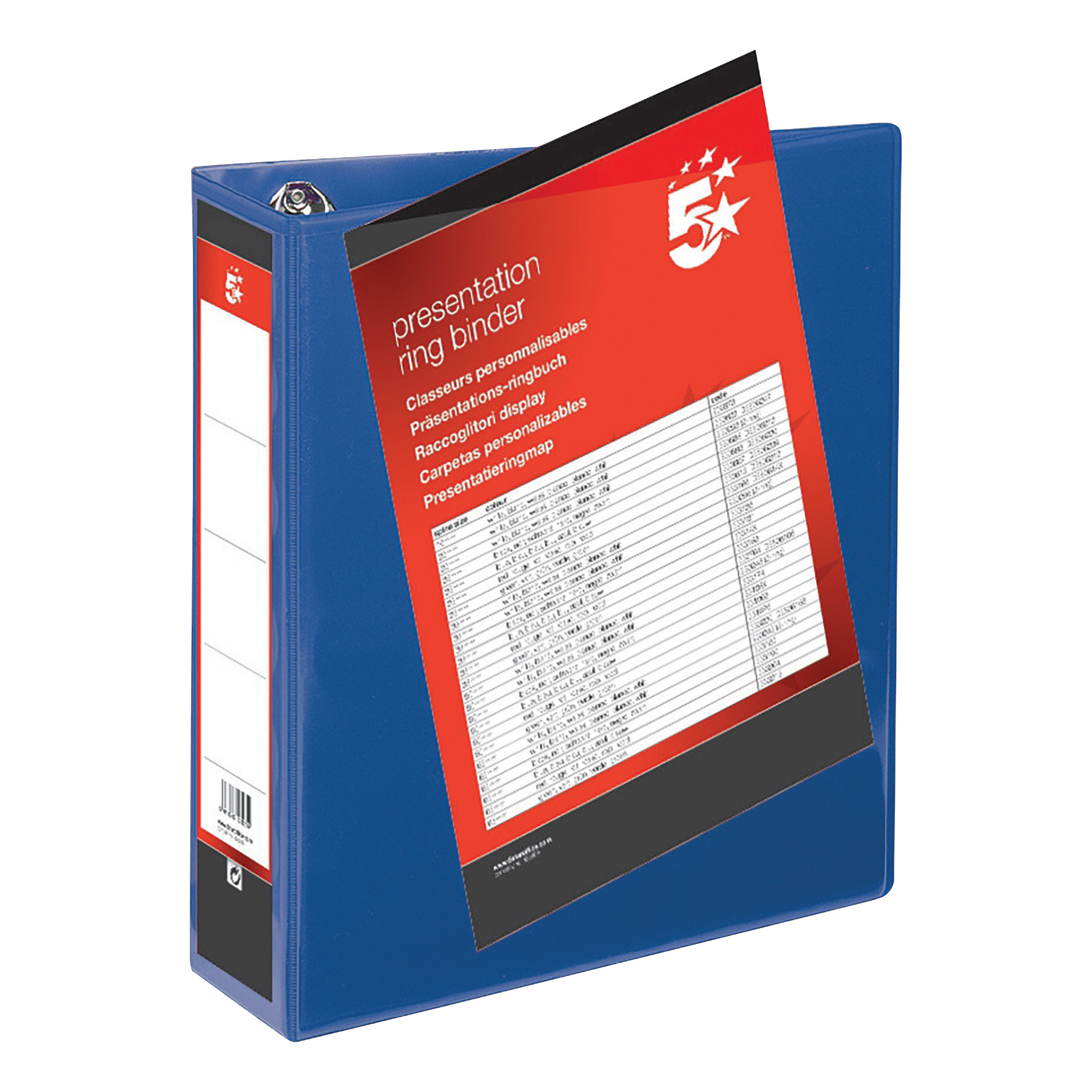 5 Star Office Presentation Ring Binder PVC 4 D-Ring 50mm Size A4 Blue [Pack 10]