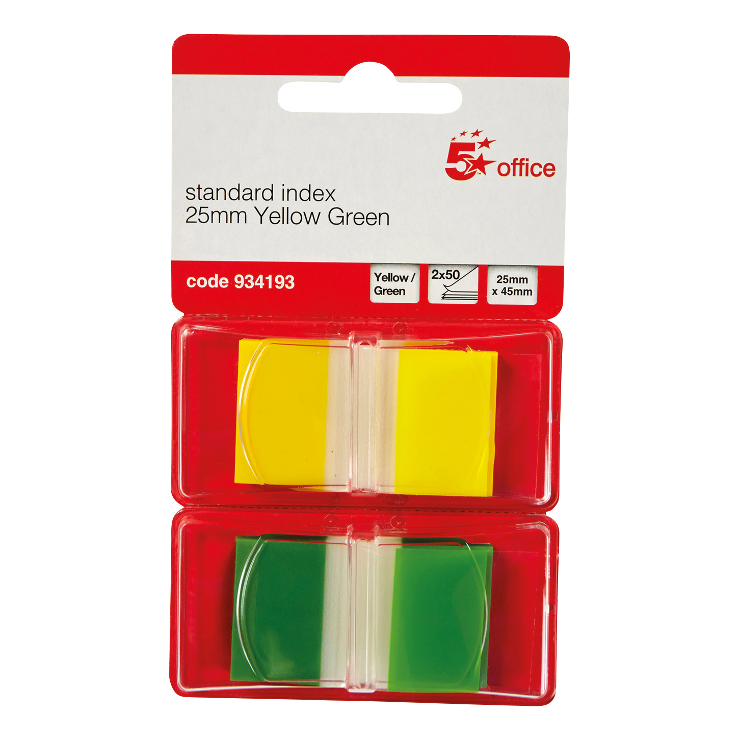 5 Star Office Index Flags 50 per Pack 25mm Yellow and Green [Pack 2]