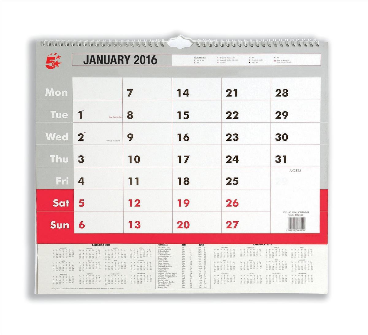 5 Star 2016 A3 Wall Calendar