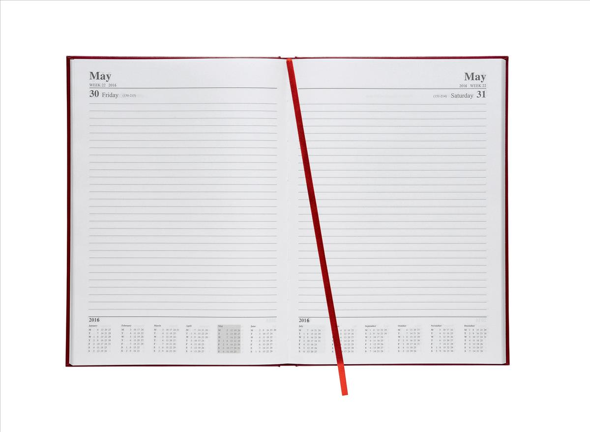 5 Star 2016 A4 Day to Page Diary Red