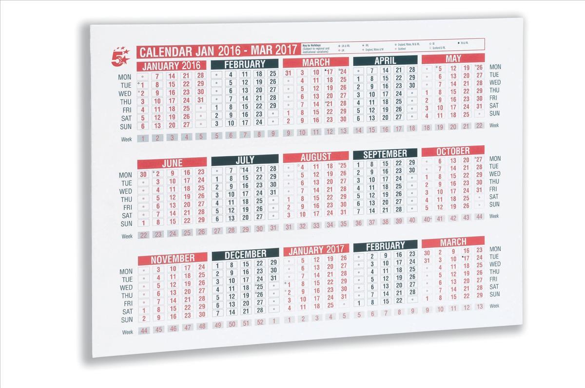 5 Star 2016 A4 Wall/Desk Calendar