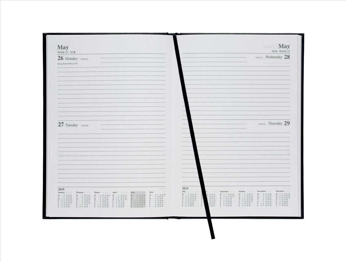 5 Star 2016 A5 2 Day To Page diary Black
