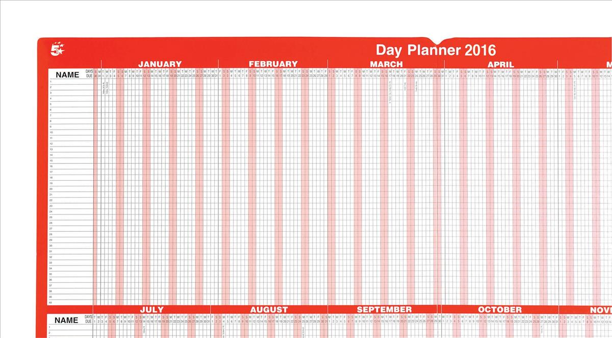 5 Star 2016 Day Planner Mounted