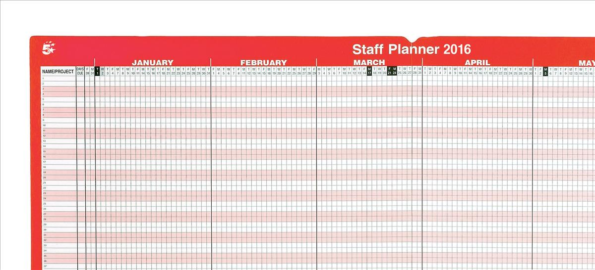 5 Star 2016 Staff Planner Mounted
