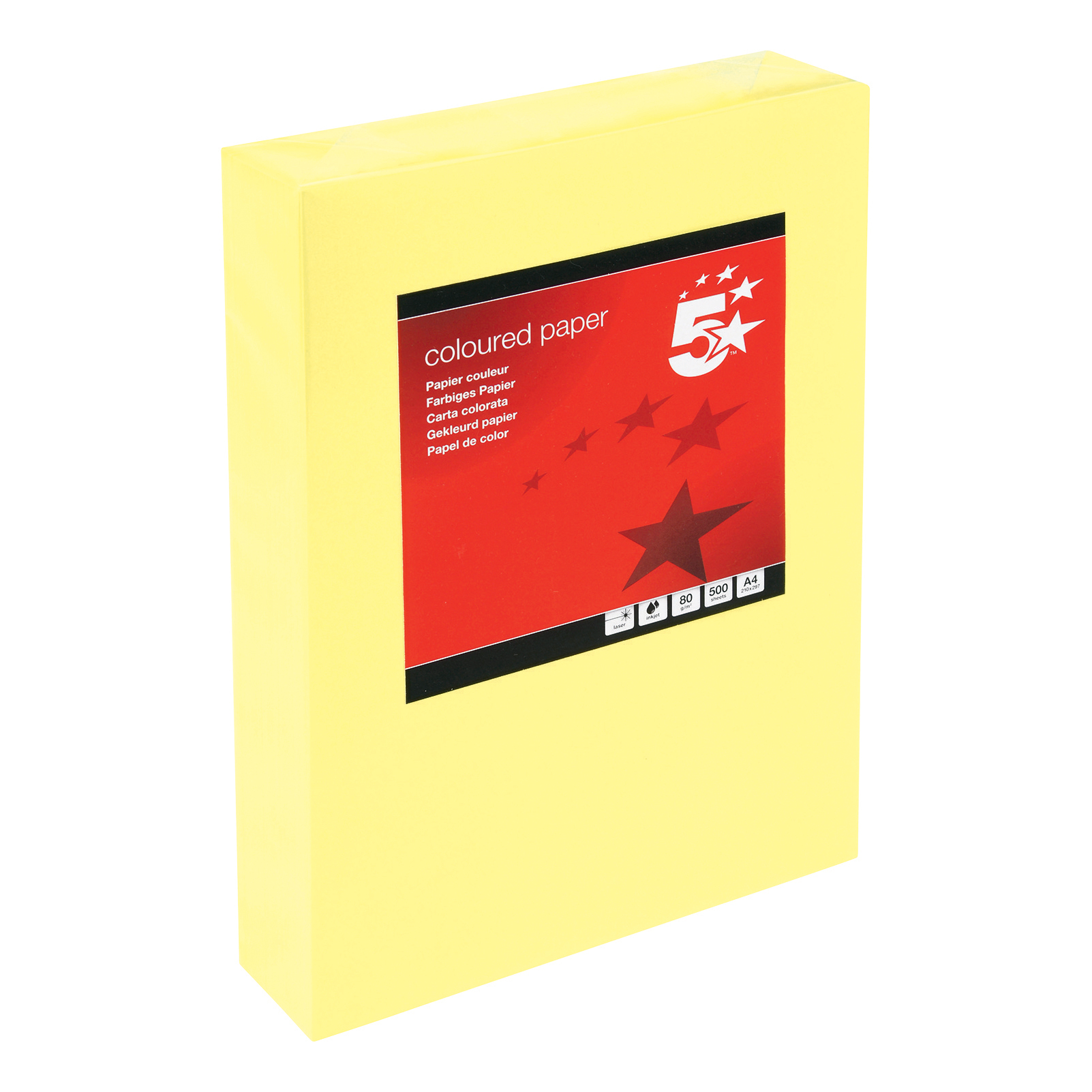 5 Star Office Coloured Copier Paper Multifunctional Ream-Wrapped 80gsm A4 Medium Yellow [500 Sheets]