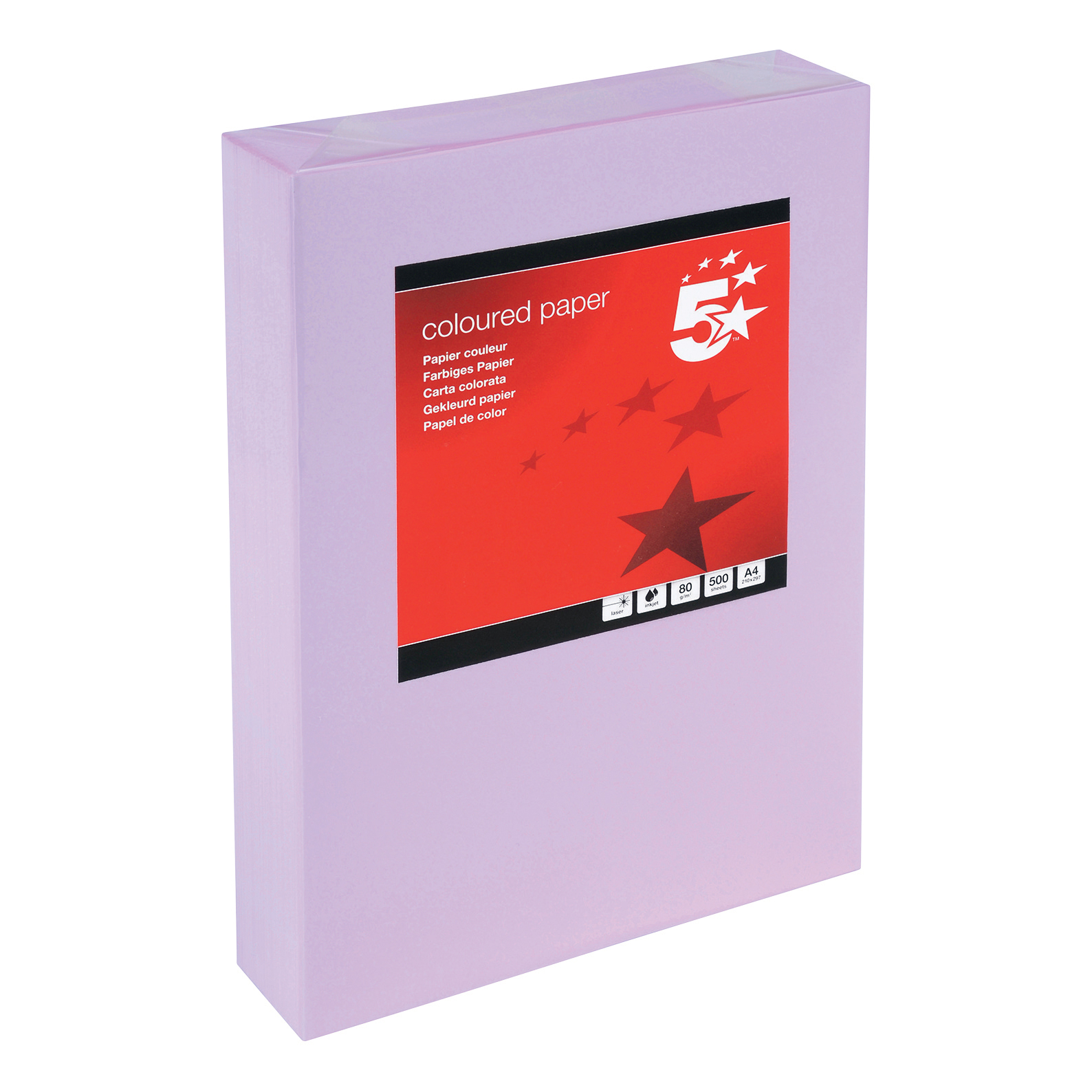 5 Star Coloured Copier Paper Multifunctional Ream-Wrapped 80gsm A4 Medium Violet [500 Sheets]