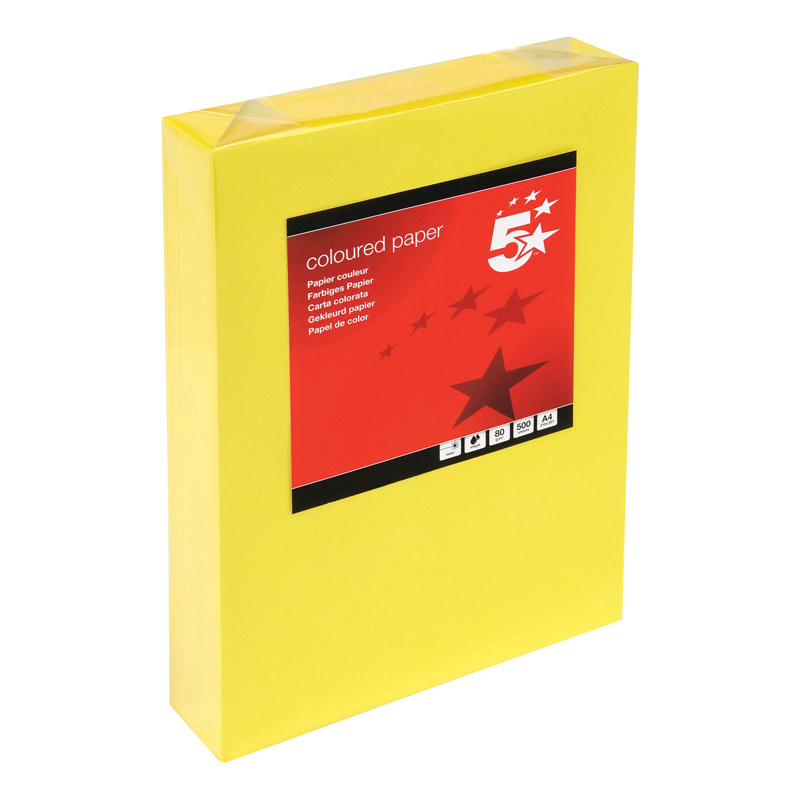 5 Star Office Coloured Copier Paper Multifunctional Ream-Wrapped 80gsm A4 Deep Yellow [500 Sheets]