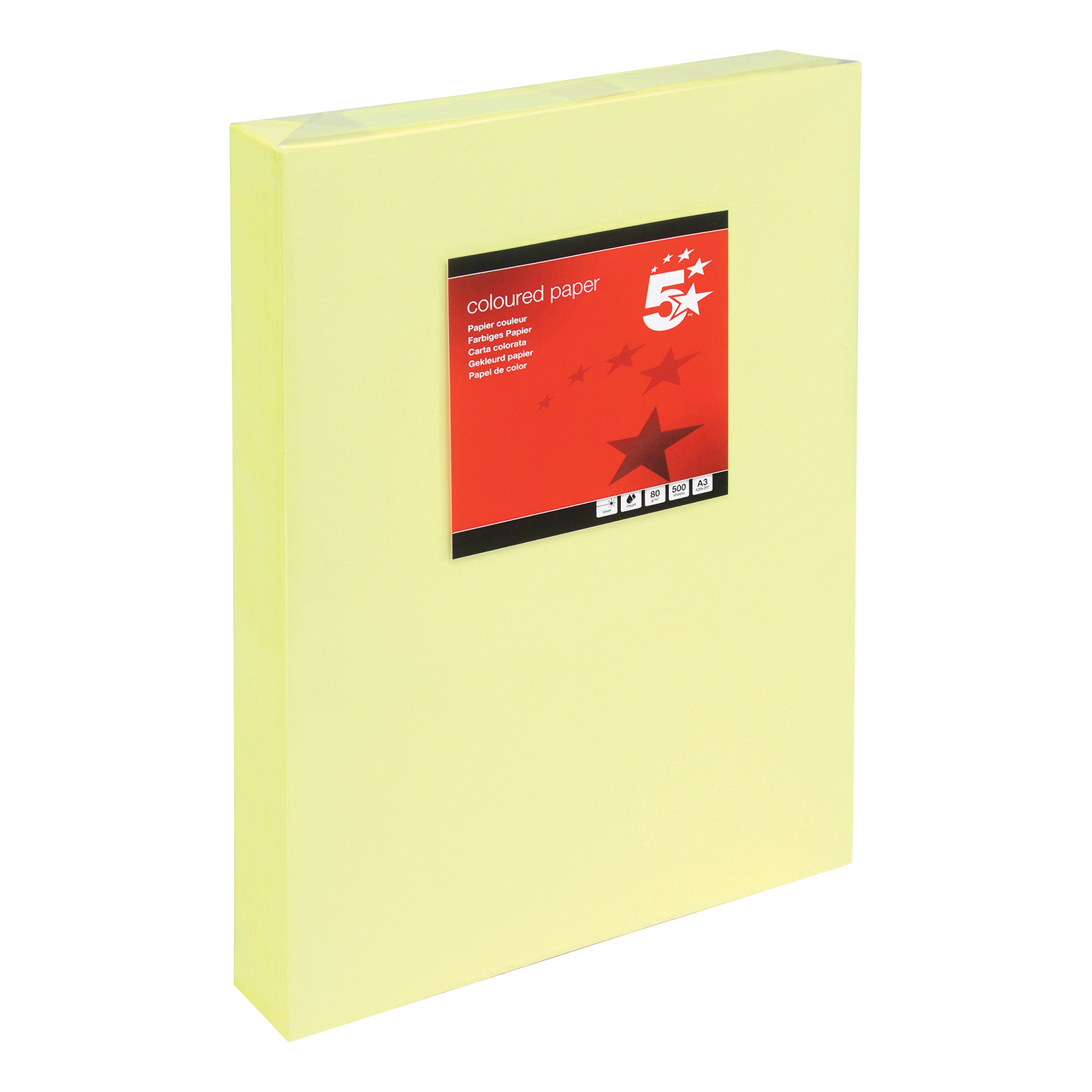 5 Star Copier Paper Multifunctional 80gsm 500 Sheets per Ream A3 Light Yellow