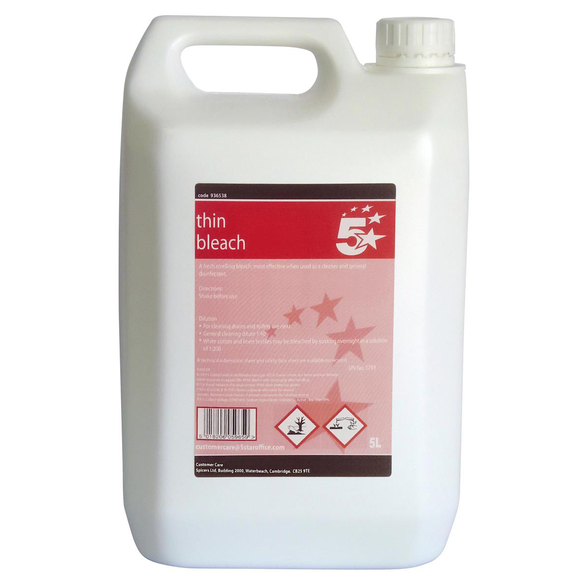 5 Star Facilities Thin Bleach for General Purpose Cleaning 5 Litres