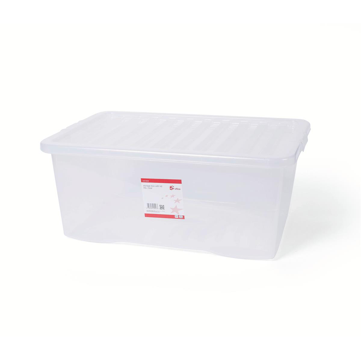 Image for 5 Star Office Storage Box Plastic with Lid Stackable 45 Litre Clear