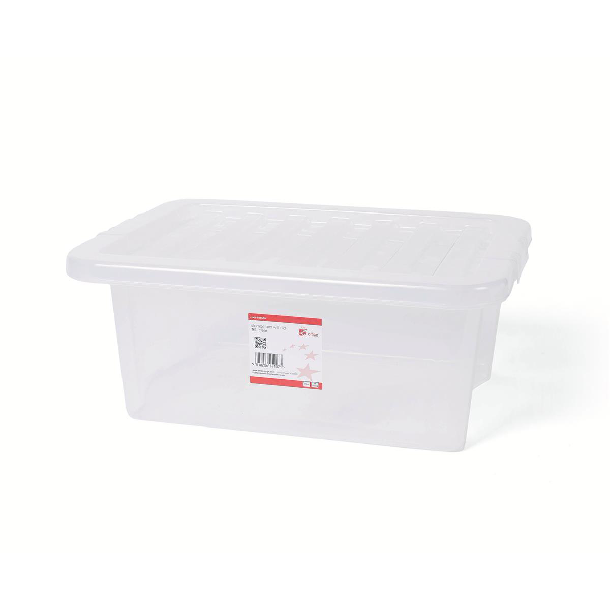 Image for 5 Star Office Storage Box Plastic with Lid Stackable 16 Litre Clear