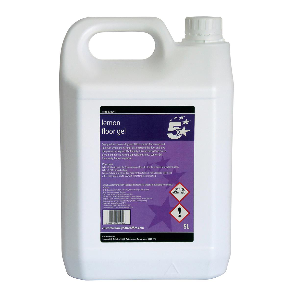 5 Star Facilities Lemon Floor Gel 5 Litres