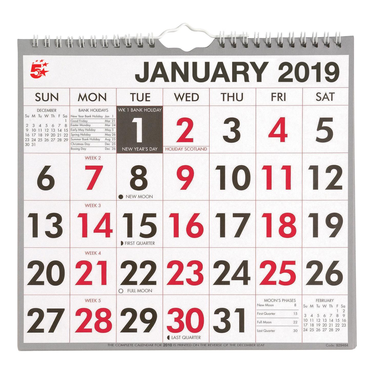 Calendar 2019 Office 5 Star 2019 Wall Calendar W/Bound MTV | DH Office Supplies