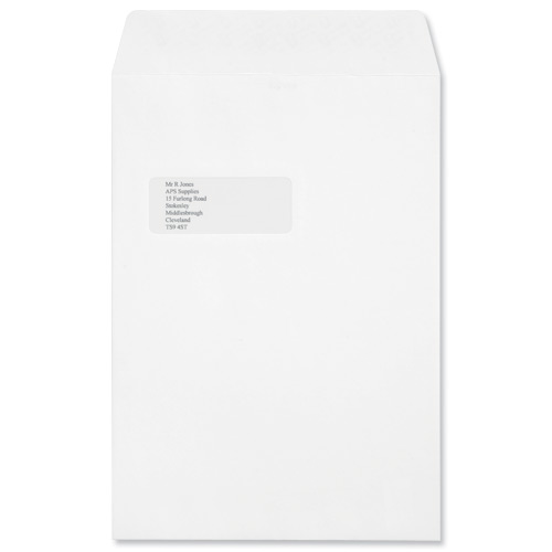 Croxley Script C4 Envelopes Pocket Peal and Seal Window Pure White Pack 250 Code