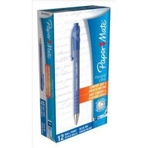 Paper Mate Flexgrip Retractable Ultra Ball Pen Fine 0.8mm Tip 0.4mm Line Blue Ref S0190303 [Pack 12]