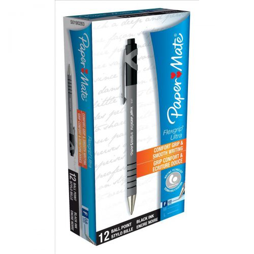 Paper Mate Flexgrip Retractable Ultra Ball Pen Fine 0.8mm Tip 0.4mm Line Black Ref S0190283 [Pack 12]