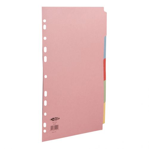 Concord Subject Dividers 5-Part Multipunched 160gsm A4 Assorted Ref 51099
