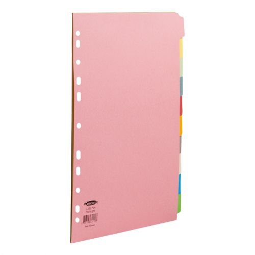 Concord Subject Dividers 10-Part Multipunched 160gsm A4 Assorted Ref 72299/J22 [Pack 25]