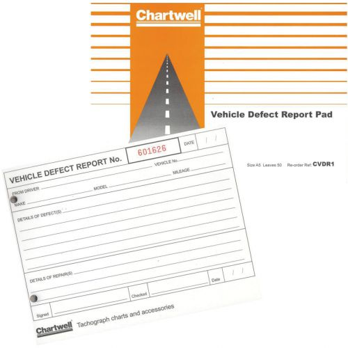 Chartwell Tachograph Vehicle Defect Report Pad 50 Sheets Ref CVDR1