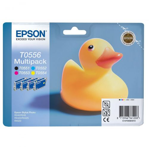 Epson T0556 Inkjet Cartridge Duck Page Life 290pp 8ml Blk/Cyan/Mag/Yellow Ref C13T05564010 [Pack 4]