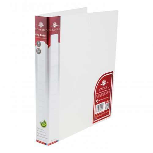 Concord Natural Ring BInder Polypropylene 2 O-Ring 25mm Size A4 Clear Ref 6061-PFL (CLR) [Pack 10]