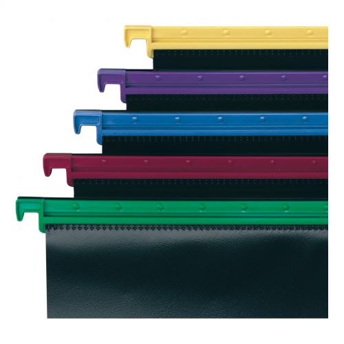 Snopake HangGlider Suspension Files Polypropylene 15mm V-base Foolscap Assorted Ref 10279 [Pack 25]