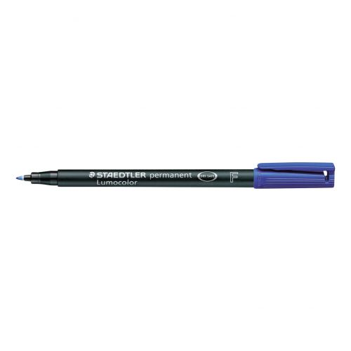 Staedtler 318 Lumocolor Permanent Pen Fine 0.6mm Line Blue Ref 318-3 [Pack 10]