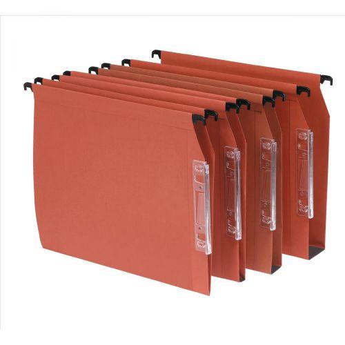 Bantex Linking Lateral File Kraft 50mm Wide-base 210gsm Foolscap Orange Ref 100330745 [Pack 25]
