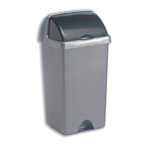 Addis Roll Top Bin Plastic 50 Litres Metallic Silver