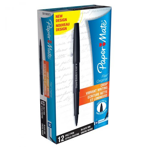 Paper Mate Flair Felt Tip Pens 1.0mm Tip 0.8mm Line Black Ref S0190973 [Pack 12]