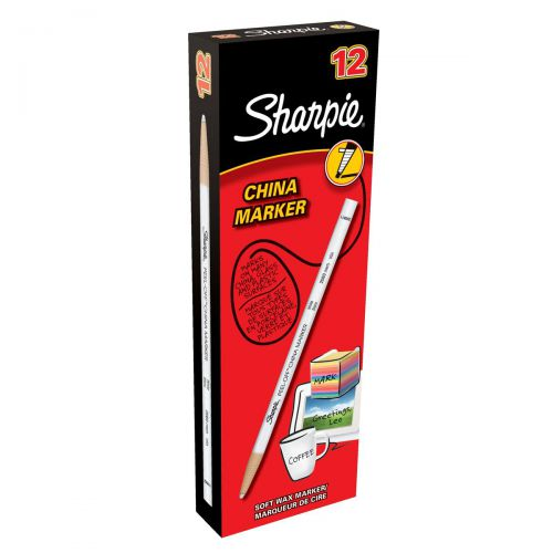 Sharpie China Wax Marker Pencil Peel-off Unwraps to Sharpen White Ref S305061 [Pack 12]